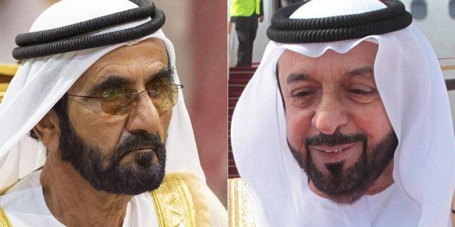 Sheikh Mohammed bin Rashid Al Maktoum is the Vice President and Prime Minister of the United Arab Emirates (left);Khalifa bin Zayed bin Sultan Al Nahyan is the current President of the United Arab Emirates (right)