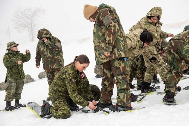 Cpl. Brenna Baverstock of the Winter Mobile Training Team conducts a snowshoe lesson for the soldiers of the Lebanon Border Regiment in the Bcharre region of Lebanon, on February 17, 2020. Canada's war against the Islamic State of Iraq and the Levant has quietly entered a new phase, resulting in plans to keep fewer troops in the Middle East even after the COVID-19 pandemic passes. THE CANADIAN PRESS/HO-Department of National Defence-Cpl. Nicolas Alonso MANDATORY CREDIT