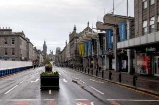 Aberdeen was deserted on Wednesday evening as restrictions kicked in