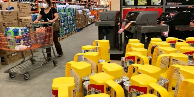 Home Depot aisles are stocked with hurricane supplies as Hurricane Isaias approaches South Florida on Friday, July 31, 2020 in Boynton Beach, Fla. Isaias is forecasted to stay east of the coast but it will bring winds and possible coasting flooding. (Amy Beth Bennett/South Florida Sun-Sentinel via AP)