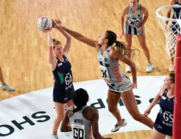 The Australian captain is being forced off the court by Super Netball's two-point shot