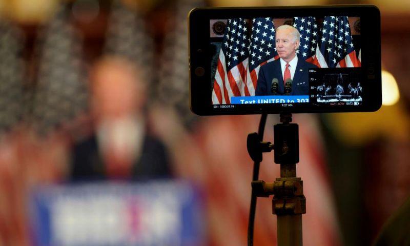 Joe Biden is seen on a monitor as he speaks in Philadelphia, Pennsylvania, on 2 June.
