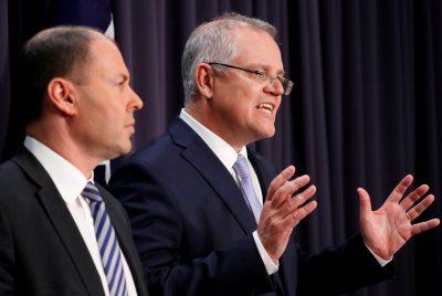 Australian Prime Minister Scott Morrison speaks next to Treasurer Josh Frydenberg during a news conference in Canberra, Australia (Photo: Reuters/David Gray).