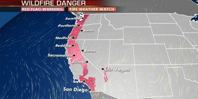 Red flag warnings stretch up the West Coast as dangerous fire conditions remain.