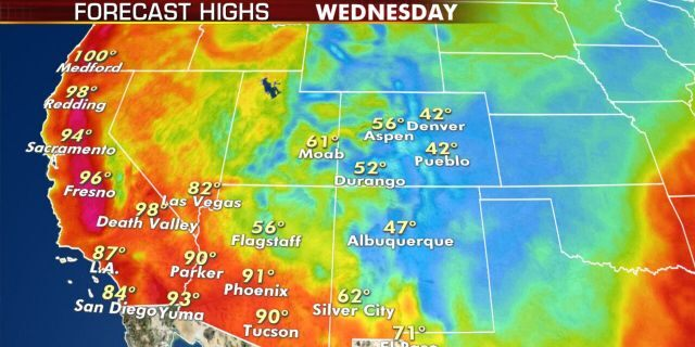 More heat and dry conditions are in the forecast of Wednesday along the West Coast.
