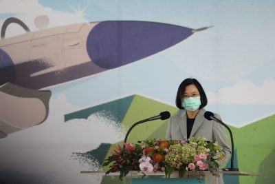 Taiwan President Tsai Ing-wen attends an inauguration ceremony of a maintenance centre for F-16 fighter jets, in Taichung, Taiwan, 28 August, 2020 (Reuters/Ann Wang).