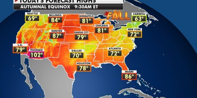 Forecast high temperatures for the first day of fall, Sept. 22, 2020.