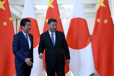 Japan's Prime Minister Shinzo Abe meets with China's President Xi Jinping at the Great Hall of the People in Beijing, China, 23 December 2019 (Photo: Noel Celis/Pool via Reuters).