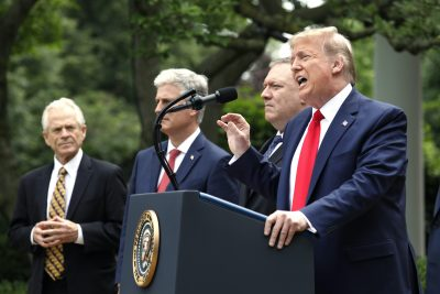 US President Donald Trump delivers remarks on China in the Rose Garden at the White House in Washington, 29 May, 2020 (Yuri Gripas/Pool/Sipa via Reuters).