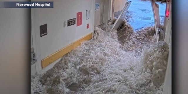 Flash flooding struck Norwood Hospital in Norwood, Mass., on June 28, 2020.