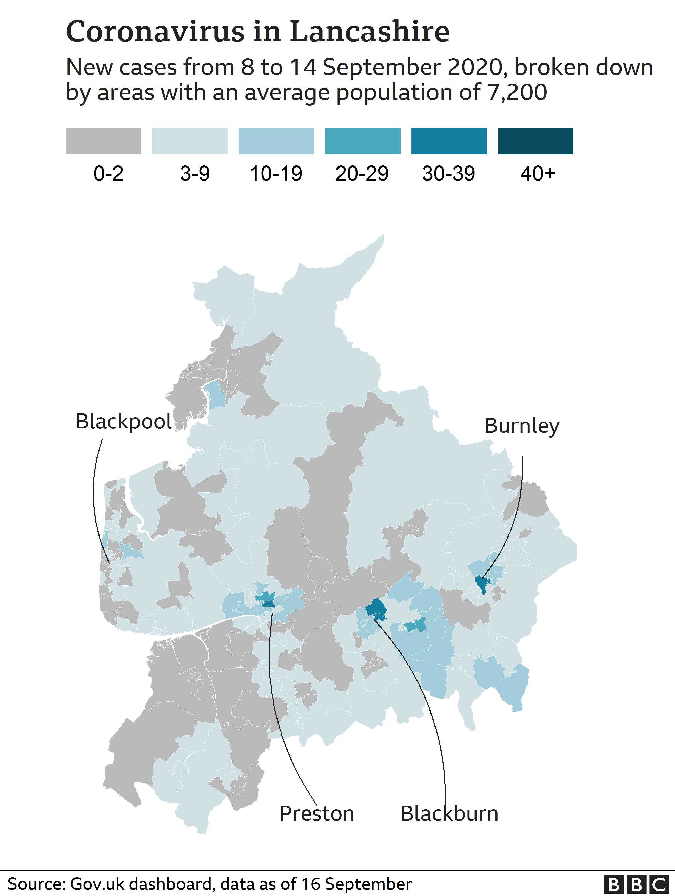 Map showing coronavirus cases in Lancashire