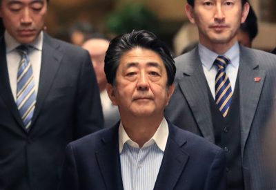 Japanese Prime Minister Shinzo Abe speaks to the media after a telephone discussion with US President Donald Trump, Tokyo, Japan, 21 December 2019 (Photo: Reuters/The Yomiuri Shimbun)