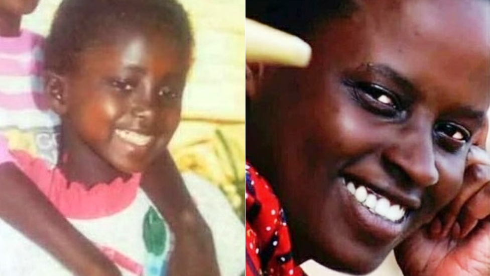 Grace Umutoni - left as a child and right as she is now