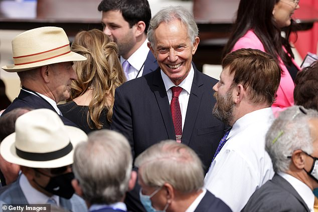 Former British prime minister Tony Blair waits for the beginning of the signing ceremony of the Abraham Accords on the South Lawn of the White House