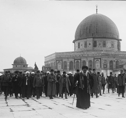 Enver Pasha and Jamal Pasha visiting the Dome of the Rock in 1916