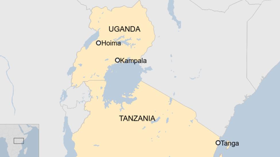 A map showing Tanga in Tanzania and Hoima in Uganda.