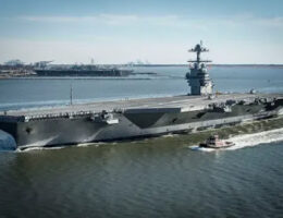 US Navy Aircraft Carrier Gerald R. Ford Hits Maintenance Goals In Port