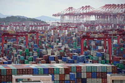 Containers are seen at the Yangshan Deep-Water Port, Shanghai, China 19 October 2020. (Photo: Reuters/Aly Song)