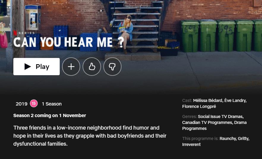 season 2 release date can you hear me