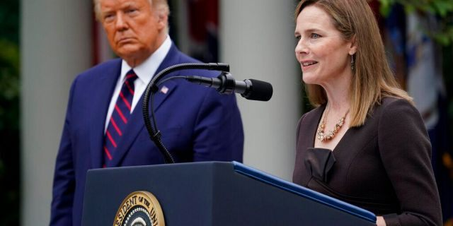 Judge Amy Coney Barrett speaks after President Donald Trump announced Barrett as his nominee to the Supreme Court, in the Rose Garden at the White House, Sept. 26, 2020, in Washington. (Associated Press)