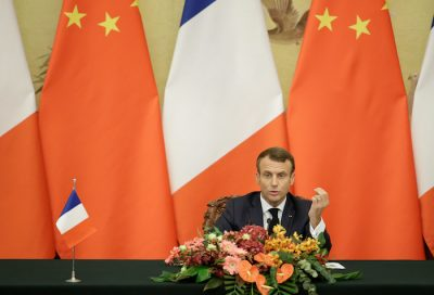 French President Emmanuel Macron speaks at a joint news conference with China's President Xi Jinping (not pictured) at the Great Hall of the People in Beijing, China 6 November, 2019 (Photo: Reuters/Jason Lee).