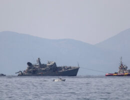 Greek Navy Minesweeper Damaged After Collision With A Cargo Ship