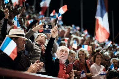 "1 October 2020. Last meeting of the Loyalists for the ""NO"" in the self-determination referendum of New Caledonia (Photo: Reuters/Theo Rouby/Hans Lucas)."