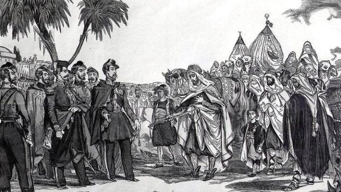 A art's drawing showing the surrender of Emir Abdelkader in 1847