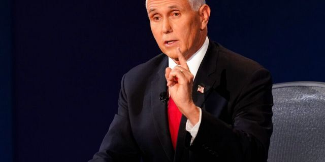 Vice President Mike Pence speaks during the vice presidential debate with Democratic vice presidential candidate Sen. Kamala Harris, D-Calif., Wednesday, Oct. 7, 2020, at Kingsbury Hall on the campus of the University of Utah in Salt Lake City. (Associated Press)
