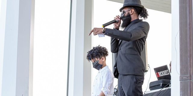 "Aubrey ""Japharii"" Jones, one of the leaders of Black Lives Matter 757, speaks out against racial injustice, proposes specific solutions to current problems, and encourages positive change moving forward, during the Black Lives Matter 757 Peace Rally  on June 5, in Hampton, Va.  (Photo by Annette Holloway/Icon Sportswire)"