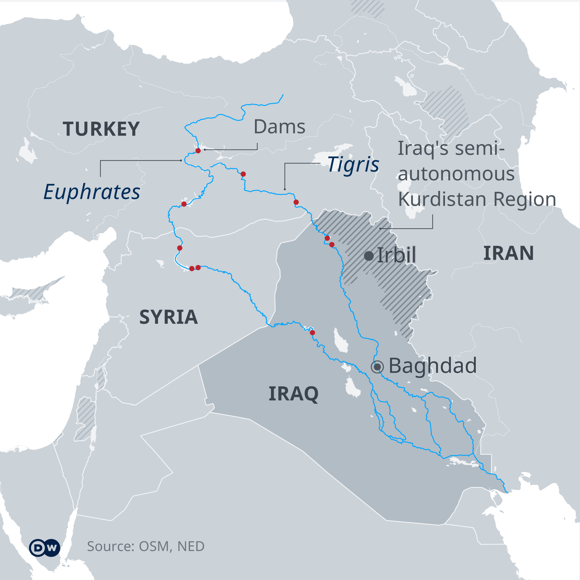 Map showing existing dams on the Euphrates and Tigris rivers