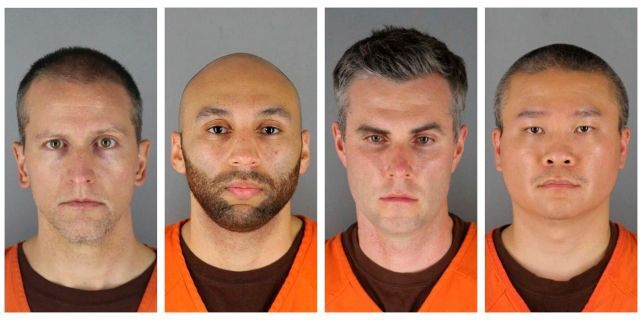 This combination of file photos provided by the Hennepin County Sheriff's Office in Minnesota on Wednesday, June 3, 2020, shows Derek Chauvin, from left, J. Alexander Kueng, Thomas Lane and Tou Thao. Chauvin is charged with second-degree murder of Floyd, a black man who died after being restrained by him and the other Minneapolis police officers on May 25. Kueng, Lane and Thao have been charged with aiding and abetting Chauvin. (Hennepin County Sheriff's Office via AP)