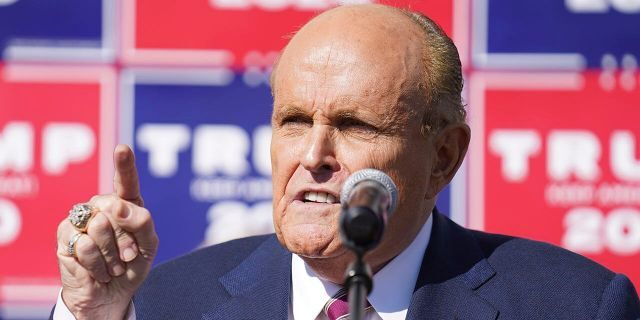 Former New York City mayor Rudy Giuliani, a lawyer for President Donald Trump, speaks during a news conference on legal challenges to vote counting in Pennsylvania, Saturday Nov. 7, 2020, in Philadelphia. (Associated Press)