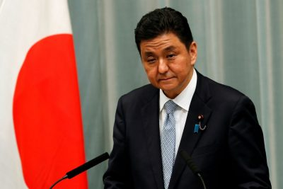 Japan's Defense Minister Nobuo Kishi attends a news conference in Tokyo, Japan, 16 September 2020 (Photo: Reuters/Kim Kyung-Hoon).