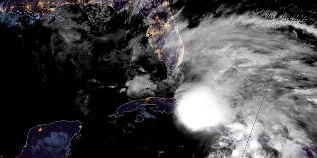 Tropical Storm Eta can be seen over Cuba as the storm moves closer to southern Florida on Nov. 8, 2020.