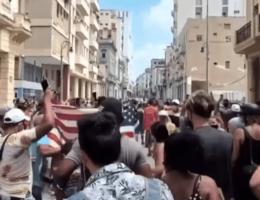 Massive Demonstrations in Cuba Demanding Freedom, Waving American Flag, Taking on Police
