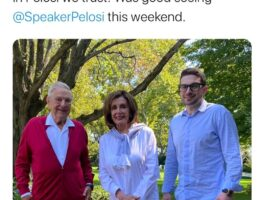 Maskless Nancy Pelosi Pictured Hanging Out with George Soros and Son This Past Weekend