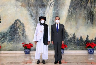 Chinese State Councilor and Foreign Minister Wang Yi meets with Mullah Abdul Ghani Baradar, political chief of Afghanistan's Taliban, Tianjin, China, 28 July 2021 (Reuters/Li Ran).