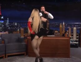"""Gross. Madonna Crawls Across Desk, Flashes Audience on Jimmy Fallon's """"Tonight Show"""" (VIDEO)"""